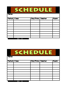 Daily Schedule Form | Daily Planner