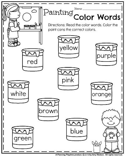 Back to School Kindergarten Worksheets Painting Color Words