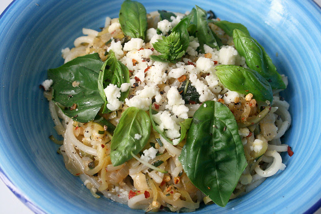 Pasta With Zucchini, Goat's Cheese and Basil
