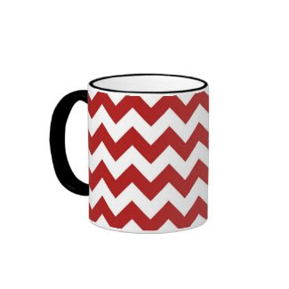 Red and White Zigzag Mug