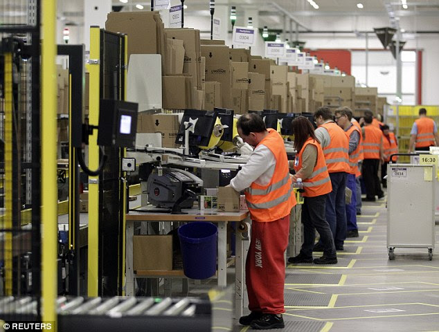 Employees detailed harsh treatment at the hands fo their bosses, including Above, employees at a distribution center in Germany get items ready for delivery
