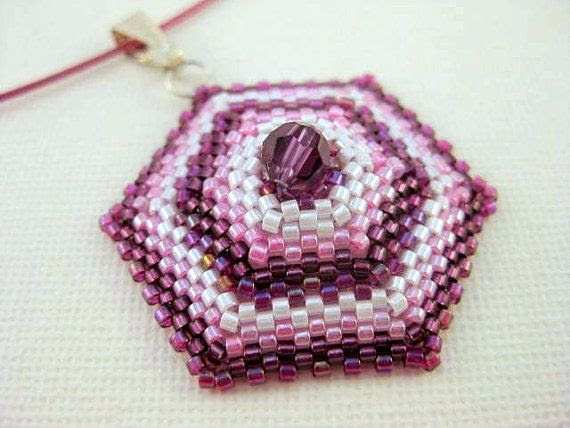 Beadwork Hexagon Peyote Pendant Beaded Seed Bead by MadeByKatarina, $20.00