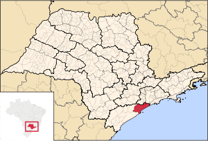 Map locator of São Paulo's Itanhaém microregion