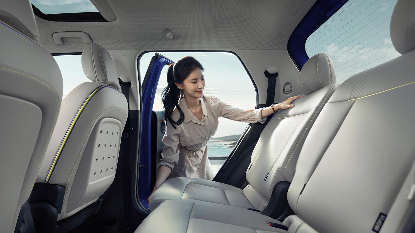 The rear seats in the Casper slide fore and aft, to free up passenger or cargo space, depending on the owner's requirements. Image: Hyundai