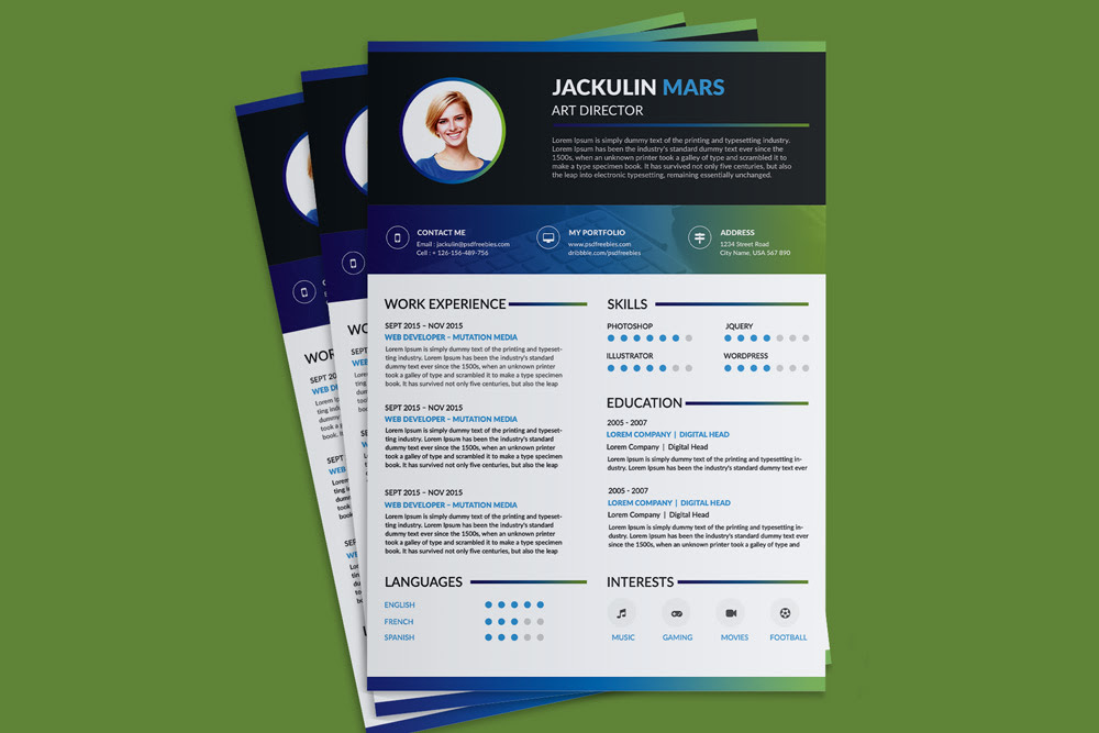 Beautiful Resume CV Design Template Free PSD File 1