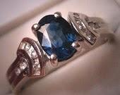 Vintage Sapphire Diamond Wedding Ring Retro Deco Inspired White Gold