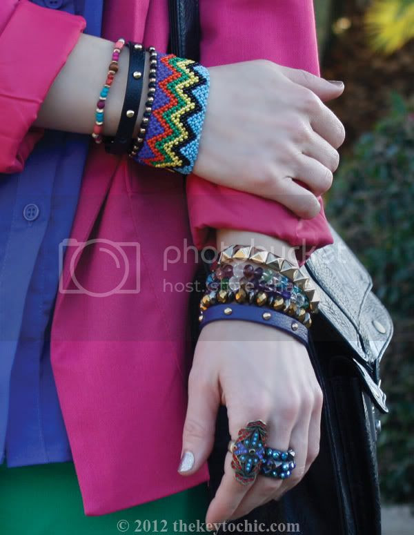 color blocking trend, H&M colored denim, layered bracelets, rockin' wrist, southern California fashion blog