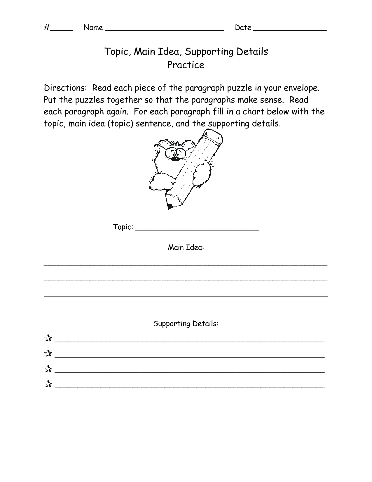 13 Best Images of Idea Supporting And Main Worksheets Details Practice  Main Idea and