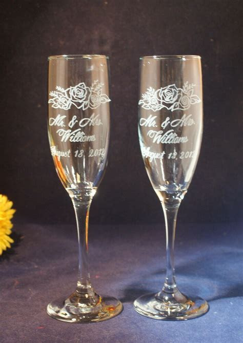2 Personalized Engraved Wedding Champagne Toasting Flutes