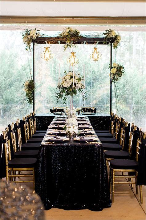 Black and Gold Wedding in Paris   Gold weddings, Reception
