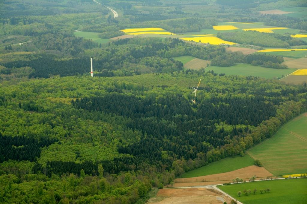 Windpark Ravenstein von Green City Energy in Baden-Württemberg im Bau
