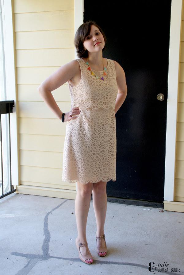 lace jcrew dress & nude pumps