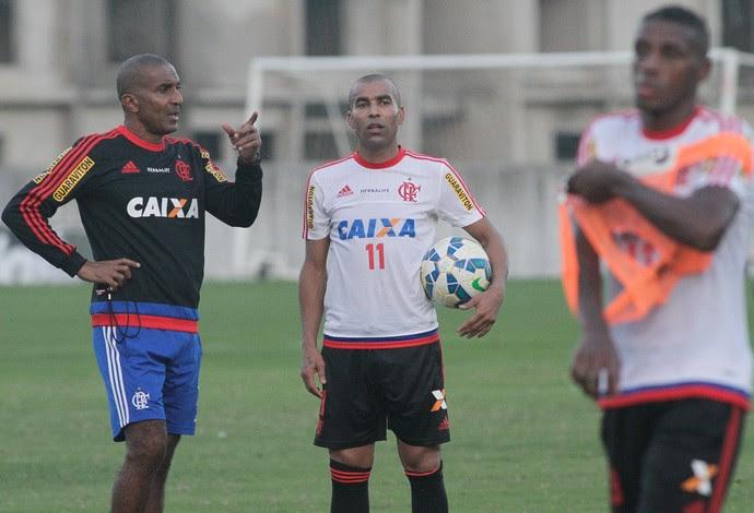 Emerson Sheik e Cristóvão Borges, Flamengo (Foto: Gilvan de Souza / Flamengo)