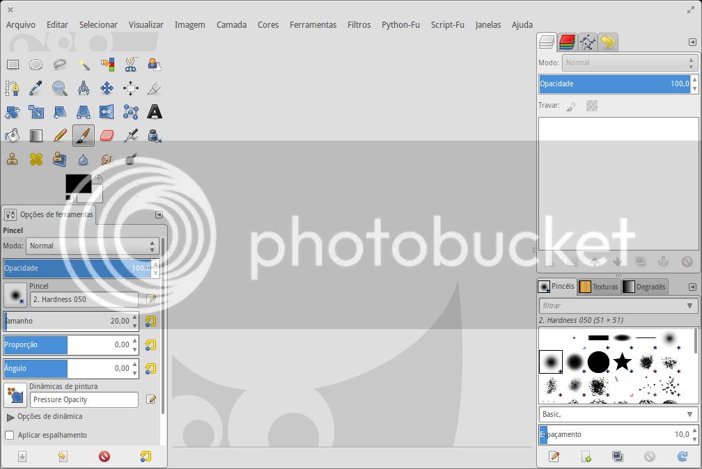 Interface do GIMP em Modo de Janela Única - A áre de edição esta vazia.