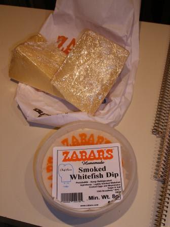 Zabars Smoked Whitefish Dip and Piave and English Farmhouse Cheese