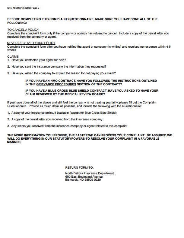 North Dakota Insurance Commissioner Complaint