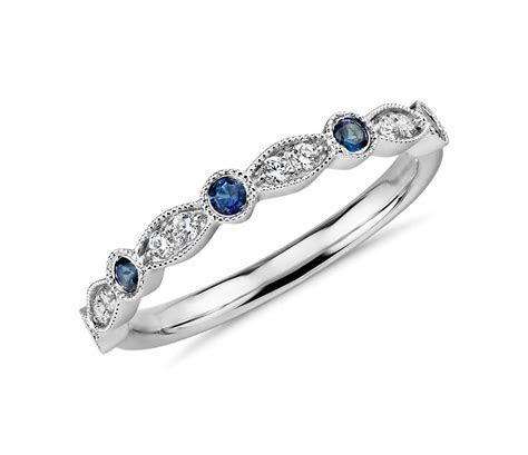 Milgrain Marquise Diamond and Sapphire Ring in 14k White