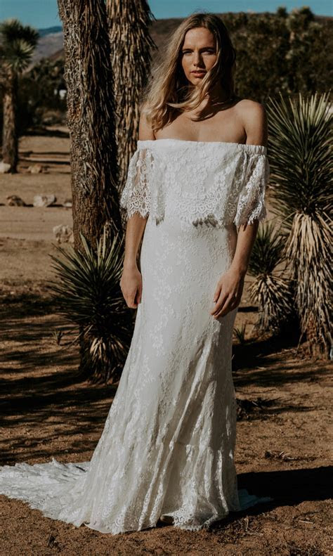Eyelash Lace Off The Shoulder Wedding Gown   Laurence by DOS