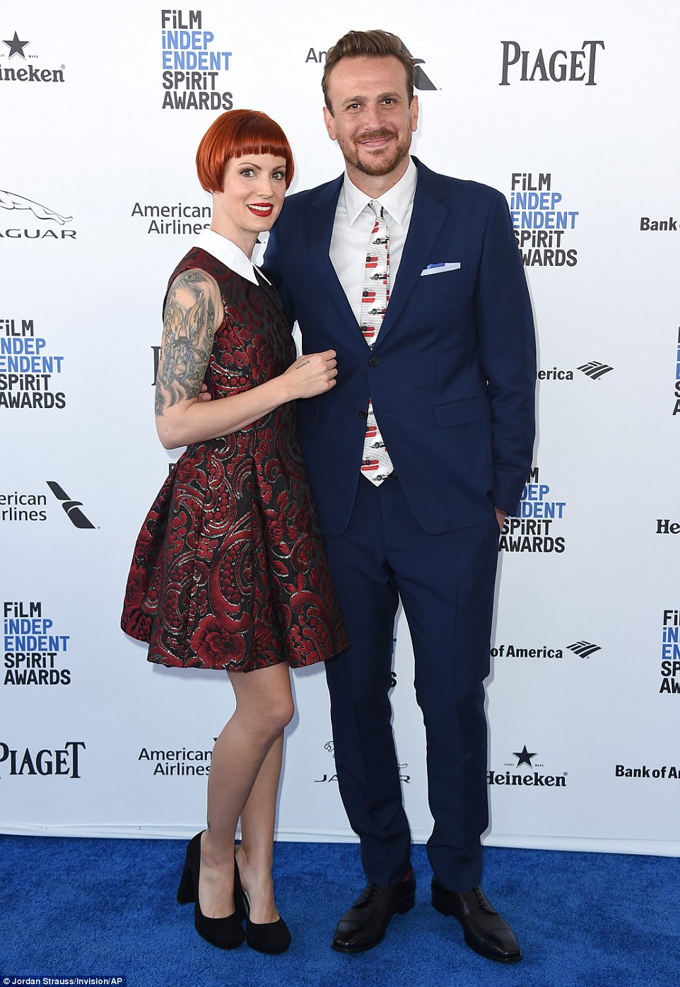 Making it a date: Jason Segel - who is nominated for best male lead in The End of The Tour - and girlfriend Alexis Mixter were a cute red carpet couple