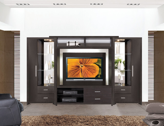 Crystal Entertainment Center Wall Unit - modern - furniture - new ...