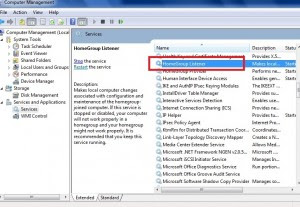 Windows 7 Services lists