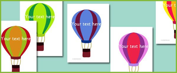 Hot Air Balloons - Editable Text   Free Early Years & Primary ...