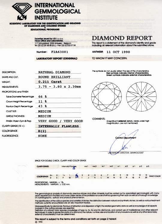 Foto 9, Diamant IGI 0,211ct Brillant Lupenrein Wesselton Juwel!, D5756
