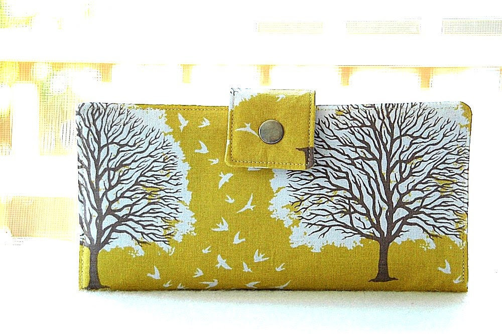 Handmade wallet in yellow with trees