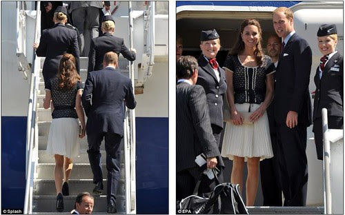 Prince William and Kate given a star-spangled send off as they fly  home with hundreds of fellow Brits on commercial BA flight    5