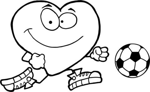 Disegno Di Cuoricino Rosso Con Pallone Da Calcio Da Colorare