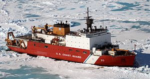 U.S. Coast Guard Cutter Healy (WAGB-20) sits a...