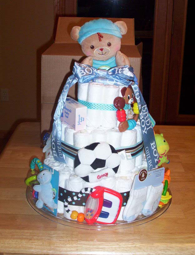 Cute Boy Diaper Cake With Sports Teddy Bears Toys