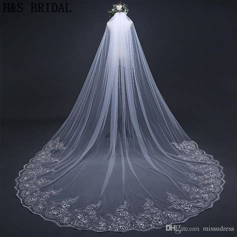 Crystals Wedding Veils Beaded Long 1 Layer Cathedral Lace