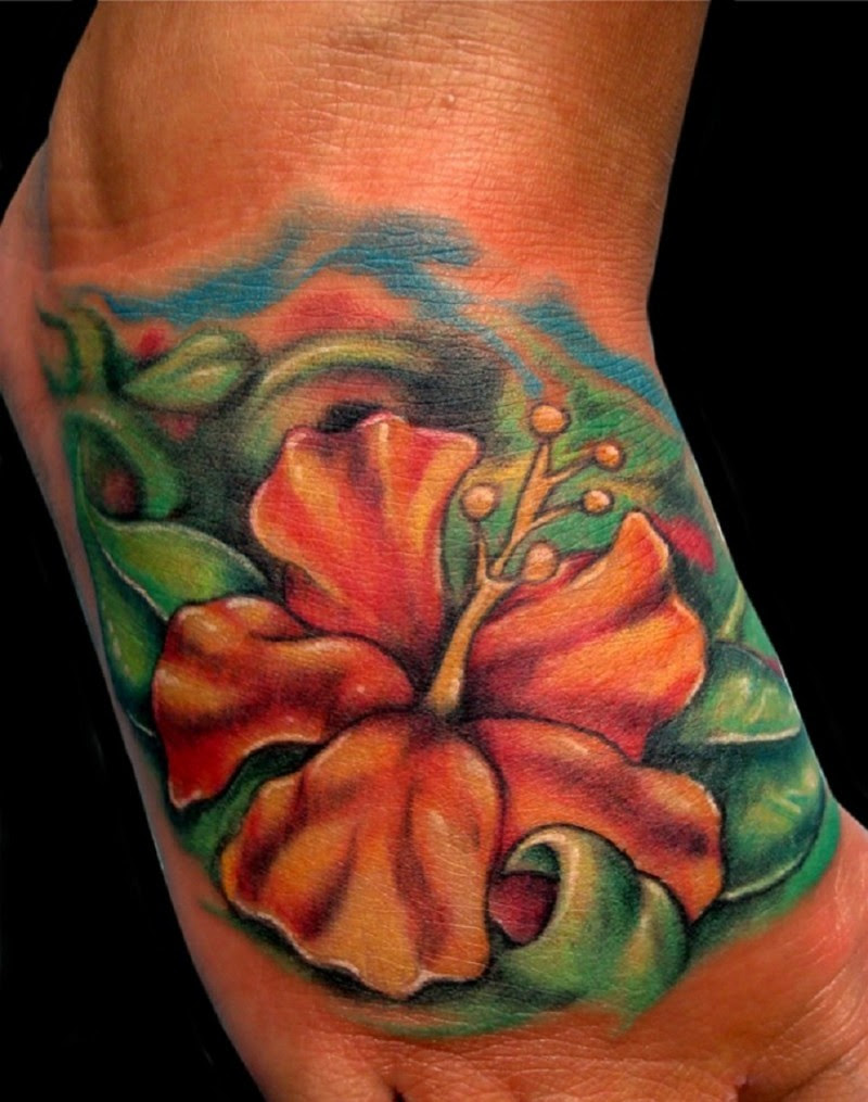 Orange Hibiscus Flower Tattoo On Foot Tattoos Book 65000