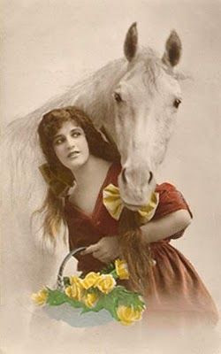 vintage photo card of horse and girl
