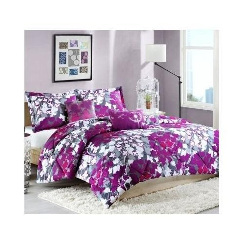 Twin Purple Fuschia and white floral comforter bedding set with pillows for teen girls