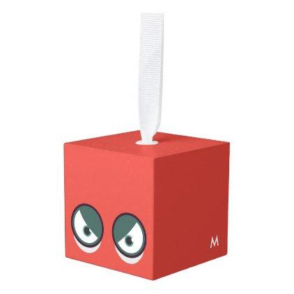 Monogram. Funny Big Eyes Monster. Cube Ornament