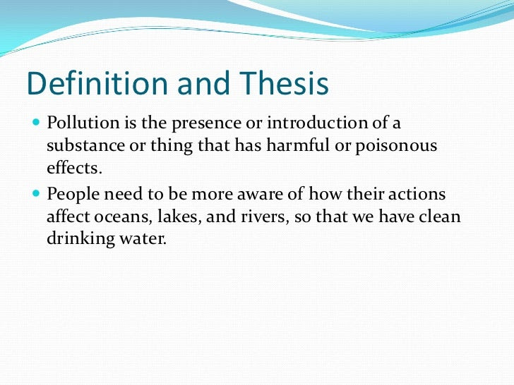 thesis statement examples for water quality water pollution