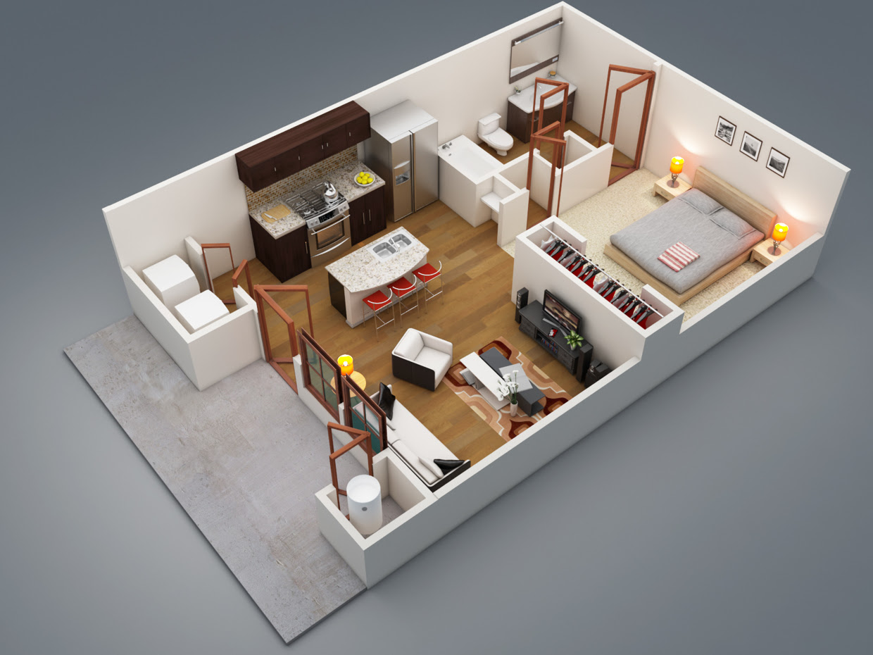 Bedroom Floor Plan One Bedroom Apartment Design