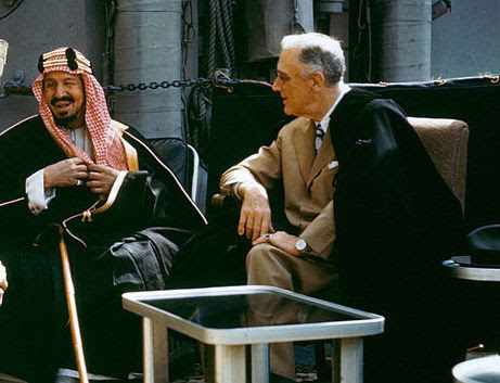 Ibn Saoud et Franklin D. Roosevelt à bord du Quincy (1945)
