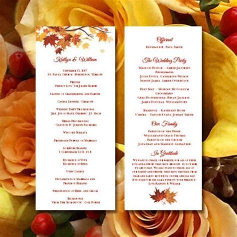 "Printable Wedding Ceremony Program Template ""Falling"