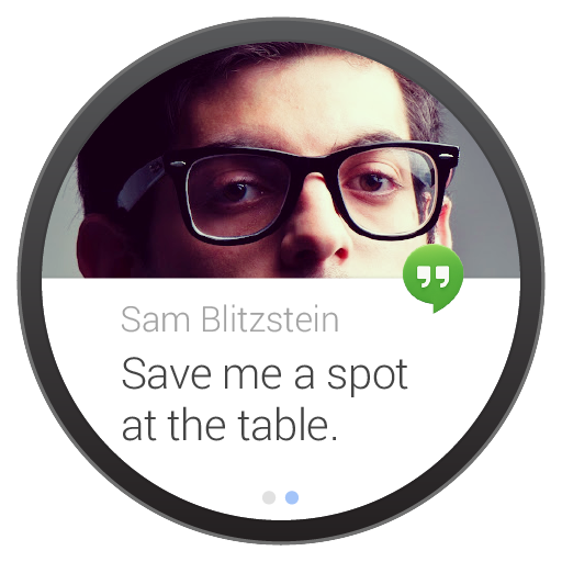Image of a Hangouts message