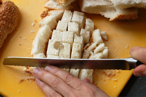 Cubing the stale bread by Eve Fox, Garden of Eating blog, copyright 2012