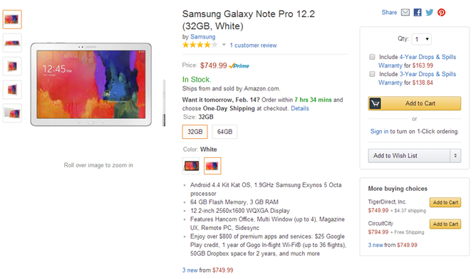 32GB Samsung Galaxy NotePRO 12.2 And 16GB TabPRO 10.1 Now Available In The US At Amazon, Best Buy, Newegg, And Elsewhere