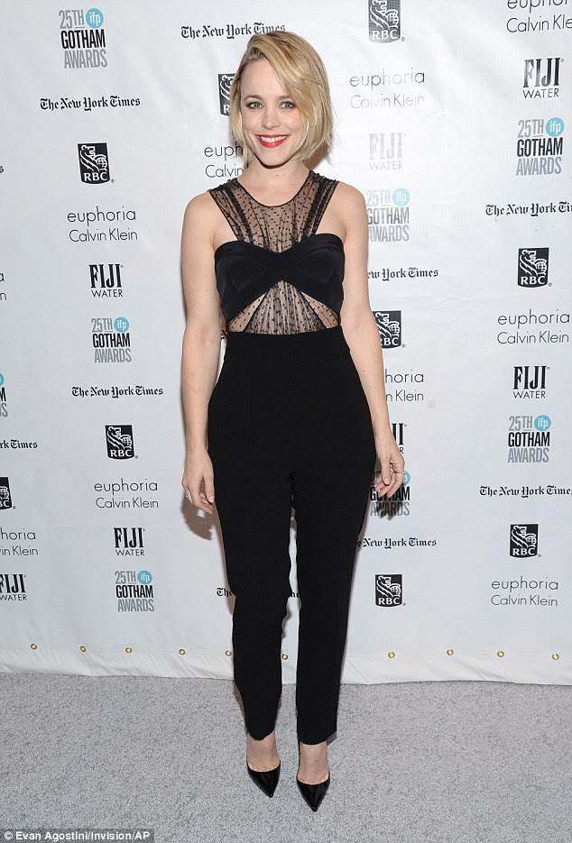 Edgy and elegant: Rachel McAdams donned a black bandeau top and matching trousers at the Gotham Independent Film Awards at Cipriani Wall Street in New York on Monday