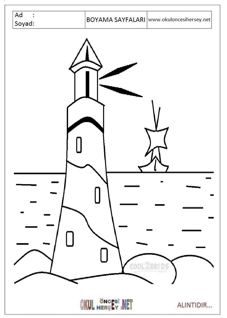 Deniz Feneri Boyama Sayfaları