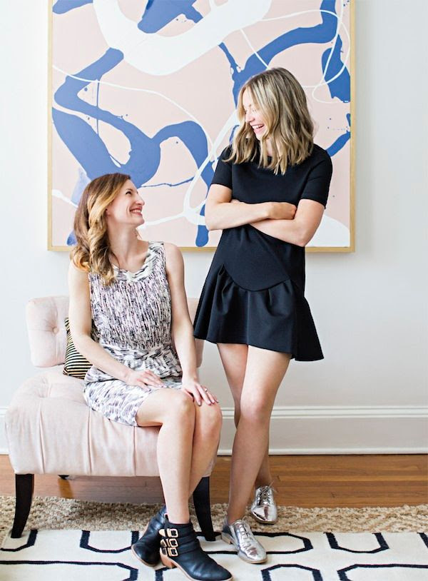 3 Le Fashion Blog -- A Fashionable Home: Laura Naples and Kristen Giorgi of NG Collective -- Domino Magazine By Brittany Ambridge -- Abstract Art, Graphic Print Dress, Peplum Hem Dress, Loeffler Randall Silver Oxfords, Buckle Ankle Boots -- photo 3-Le-Fashion-Blog-Fashionable-Home-Laura-Naples-Kristen-Giorgi-NG-Collective-For-Domino-By-Brittany-Ambridge-Art-Peplum-Dress-Loeffler.jpg