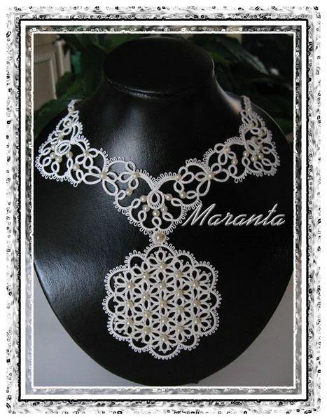 biżuteria ślubna naszyjnik frywolitkowy kolia