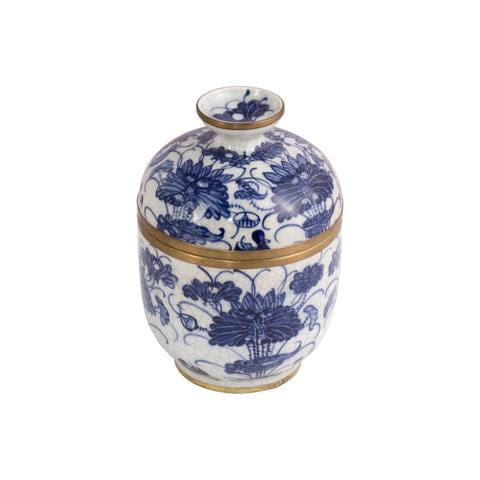 Blue & White Thai Porcelain Oblong Floral Pattern Container