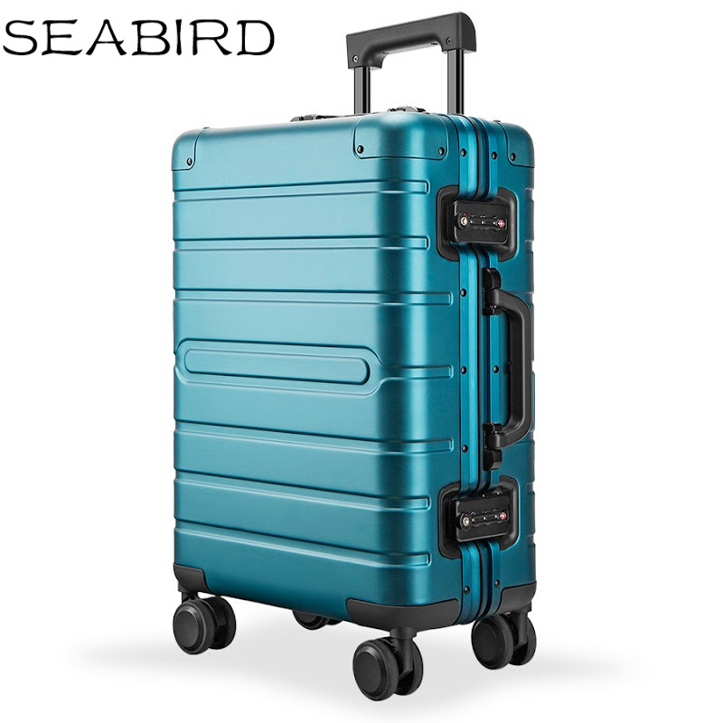 """TOP !! SEABIRD 20"""" 24"""" 28"""" inch 100% aluminium spinner travel suitcase hand luggage trolley with wheel"""